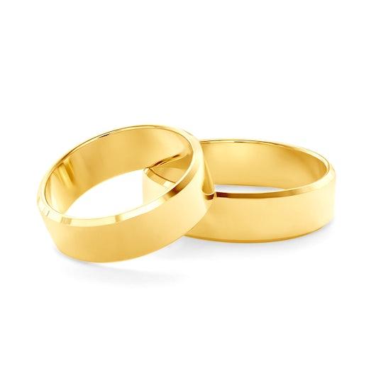 Obrączki ślubne: złote, z fazą, 6 mm