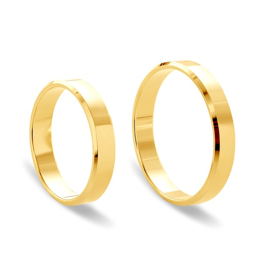 Wedding Rings: gold, Flat-Sided, 4 mm