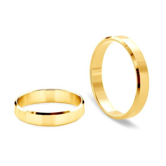 Snubní prsteny: žluté zlato, s drážkou, 4 mm