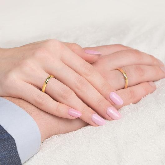 Obrączki ślubne: złote, półokrągłe, 3 mm