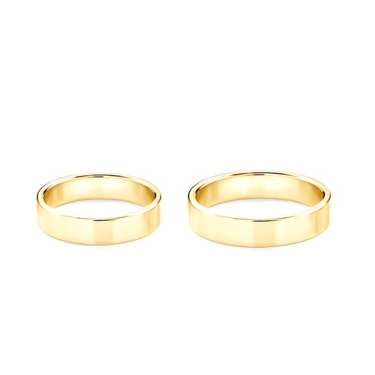 Wedding Rings: gold, Flat Shaped, 4 mm