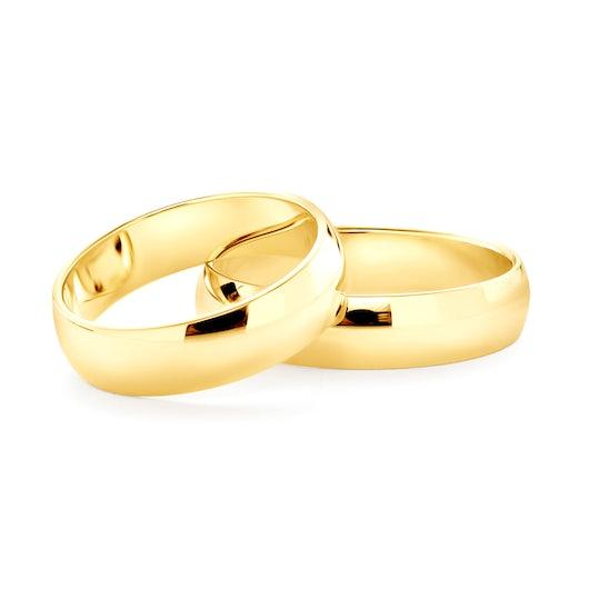 Obrączki ślubne: złote, półokrągłe, 5 mm