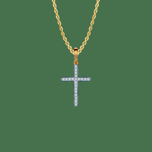 Zawieszka krzyżyk Savicki: złoty, diamenty