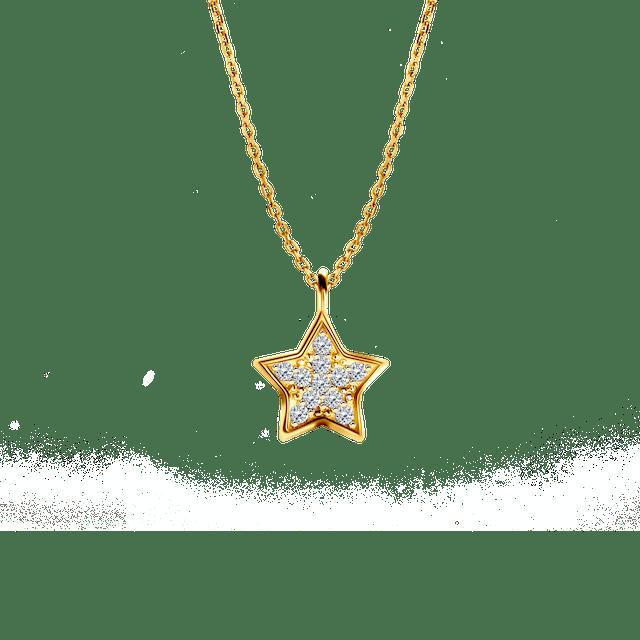 Naszyjnik celebrytka gwiazdka Savicki: srebrny pozłacany, cyrkonie